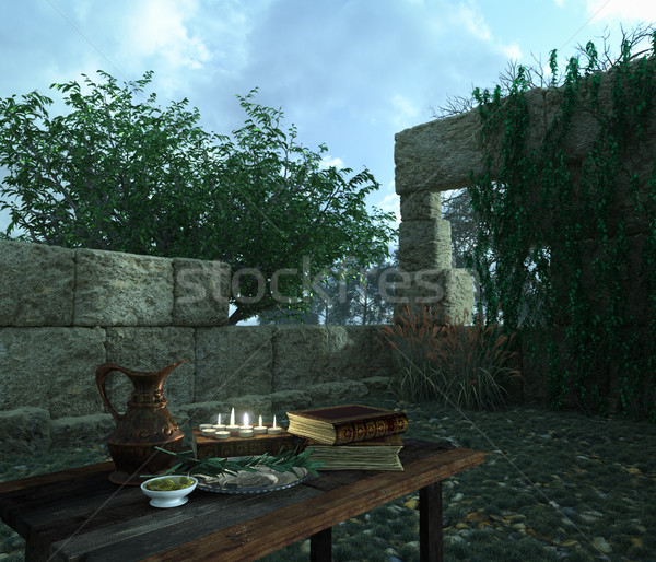 stilllife on nature background  with ancient ruins, books, olive and pitcher Stock photo © denisgo