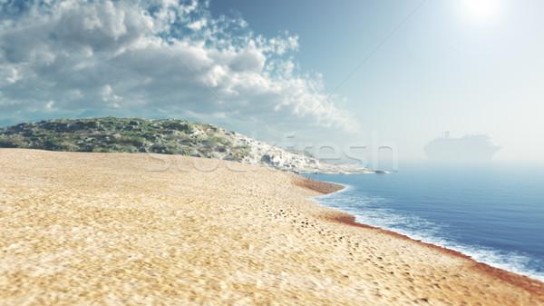 sea beach blue sky daylight relaxation landscape with ship Stock photo © denisgo