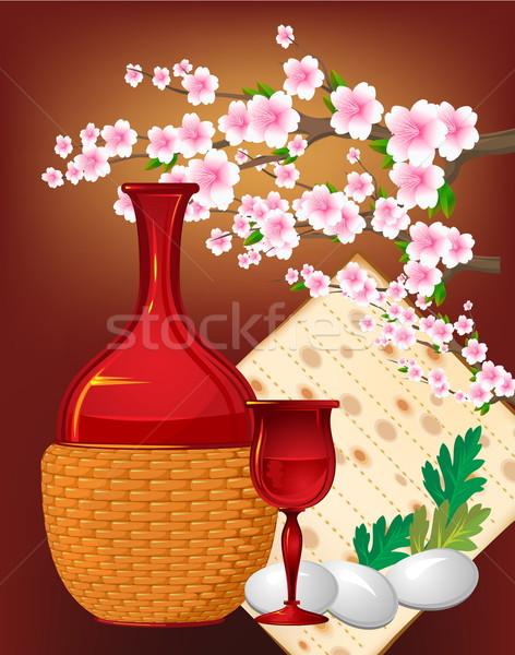 Pâque still life fleur vin heureux verre Photo stock © denisgo