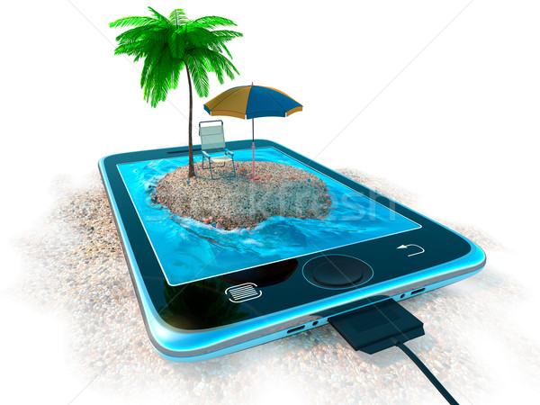 Digital tablet and sea beach as vacation concept background Stock photo © denisgo