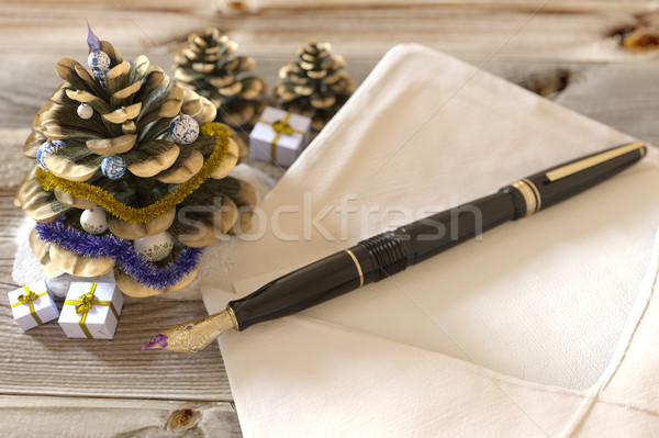 Christmas kegel brief vakantie boom Stockfoto © denisgo