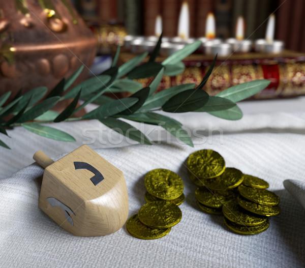 Topo ouro antigo moedas fogo Foto stock © denisgo