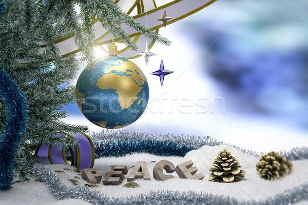 Feliz año nuevo alegre Navidad tierra paz palabra Foto stock © denisgo