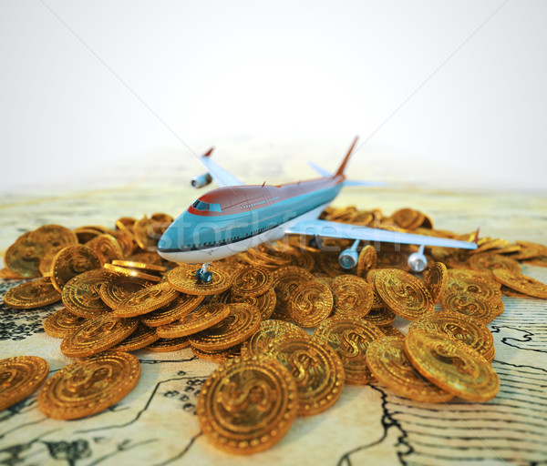 passenger plane with gold coins travel business background concept 3d illustration Stock photo © denisgo