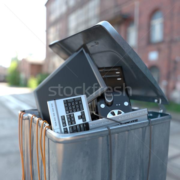 Informática lixo negócio abstrato laptop Foto stock © denisgo