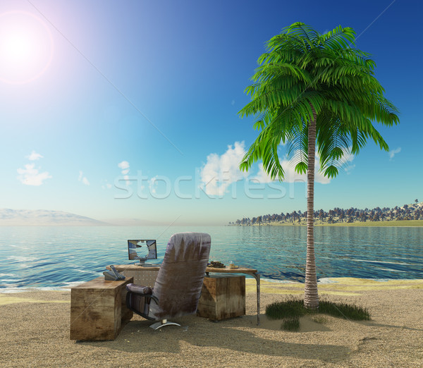 conception vacation background with office table and landscape Stock photo © denisgo
