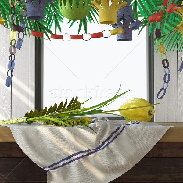 Symbols of the Jewish holiday Sukkot with palm leaves Stock photo © denisgo
