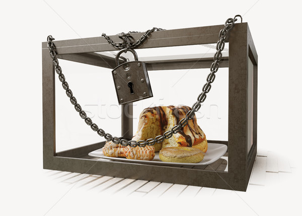cakes in close metal box with chains diet concept composition photo Stock photo © denisgo
