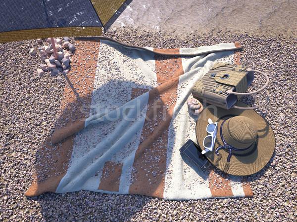 Rilassante vacanze conchiglia ombrello spiaggia accessori Foto d'archivio © denisgo