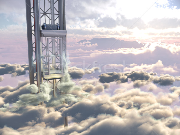 empty sky elevator concept on the sky clouds background concept composition 3d illustration Stock photo © denisgo