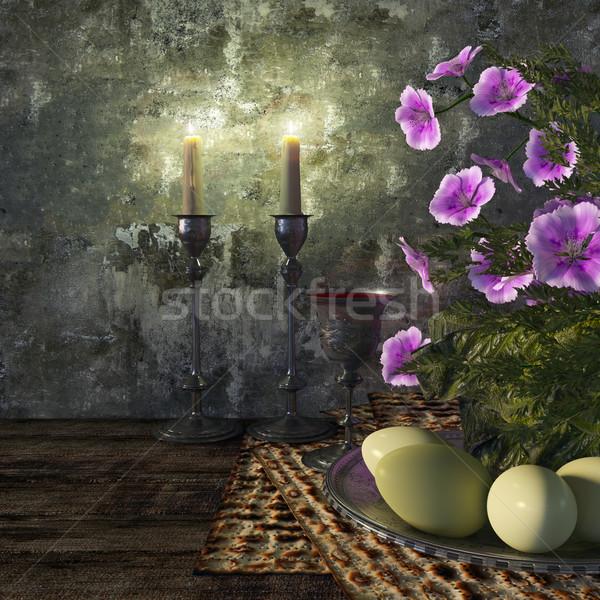 ünnepel zsidó húsvét tojások virágok természet boldog Stock fotó © denisgo