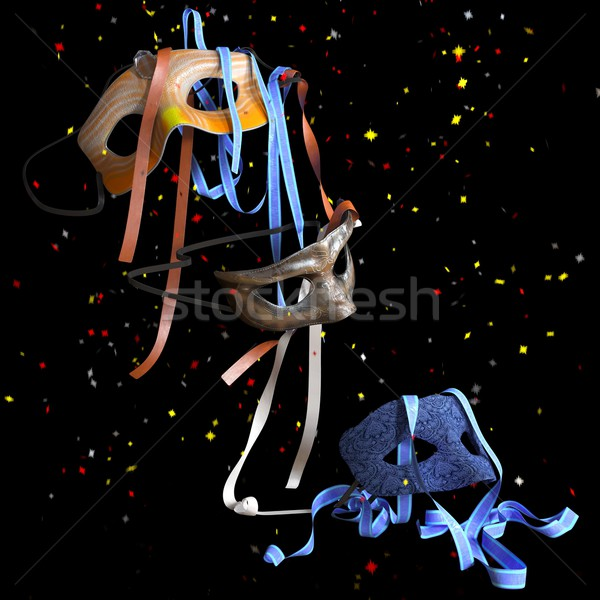 birthday and holiday decorative background with balloons and masks Stock photo © denisgo