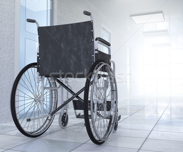 Stock photo: Empty wheelchair parked in hospital hallway  hope concept background