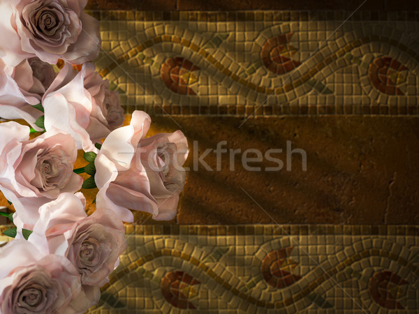 white roses on ancient wall decorative concept background Stock photo © denisgo