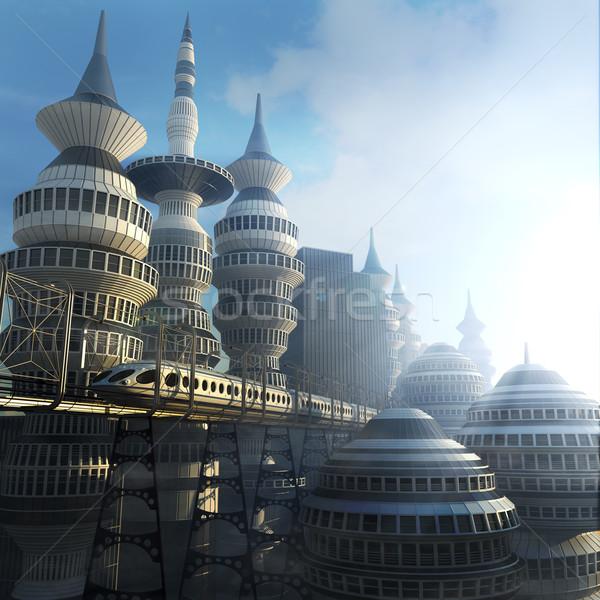 Futurista cidade trem negócio céu Foto stock © denisgo