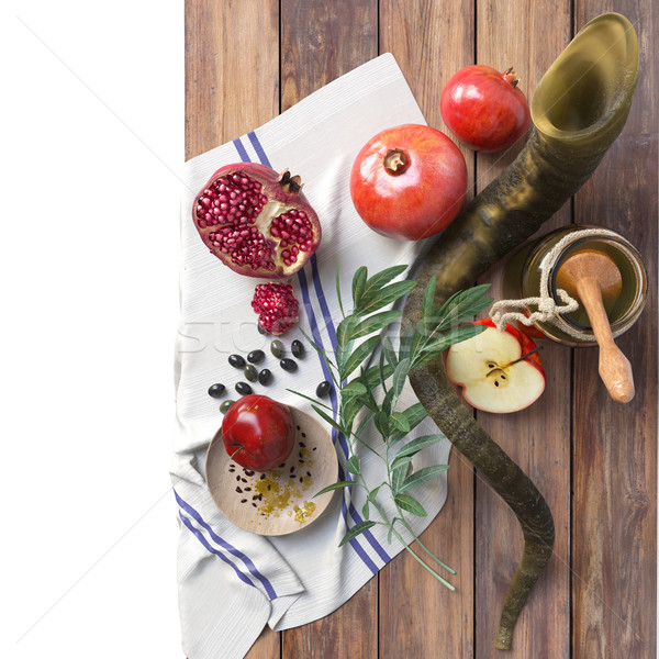 Honey jar with apples and pomegranate for Rosh Hashana religious holiday Stock photo © denisgo
