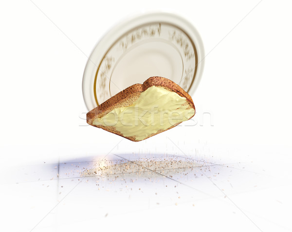 Bread and butter falling on the floor concept isolate background Stock photo © denisgo