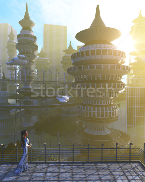 aerial view of Futuristic City with flying spaceships and fantasy woman Stock photo © denisgo