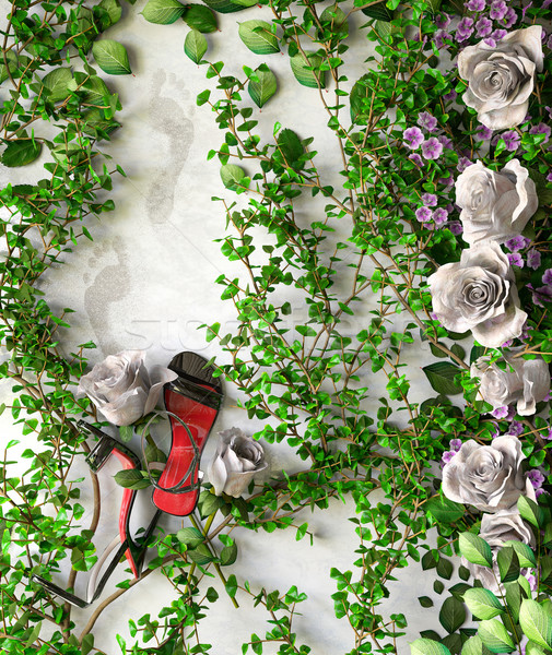 flowers and plants holiday sale concept background with shoes Stock photo © denisgo
