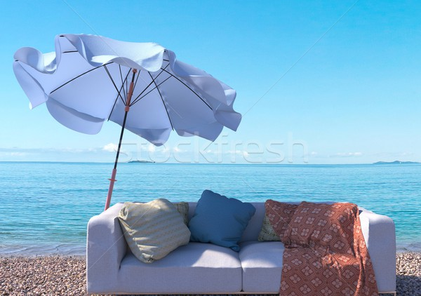 vacation concept background with interior elements and sea beach Stock photo © denisgo