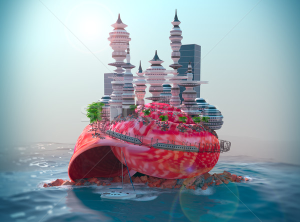 relaxing vacation concept background with seashell and ecologic futuristic city Stock photo © denisgo