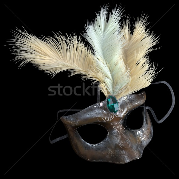 metal carnival mask with feathers on isolate black Stock photo © denisgo