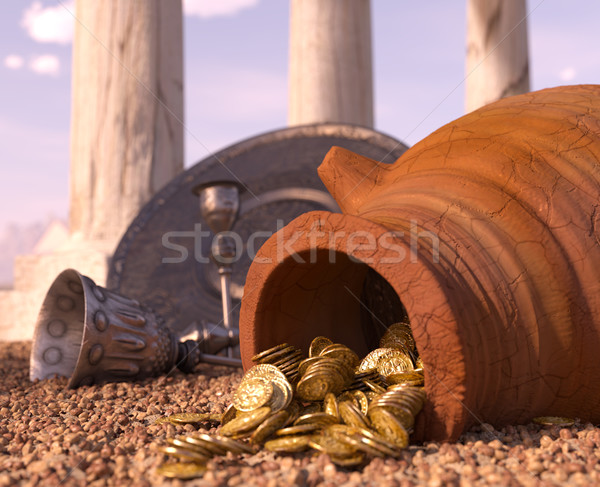 ancient gold coins treasure concept background with antique pitcher and chalice Stock photo © denisgo