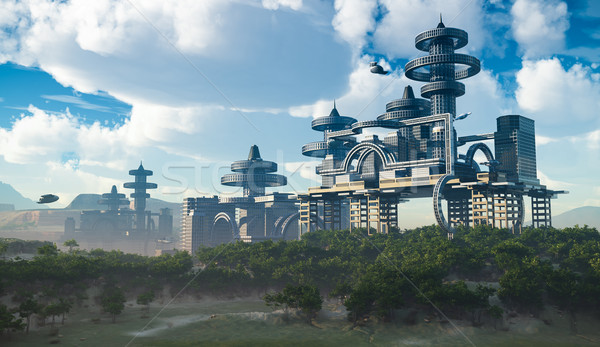 aerial view of Futuristic City with flying spaceships Stock photo © denisgo