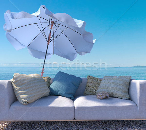 vacation concept background with interior elements and seashell Stock photo © denisgo