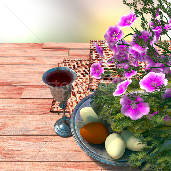 Kutlamak Yahudilerin hamursuz bayramı yumurta çiçekler beyaz Stok fotoğraf © denisgo