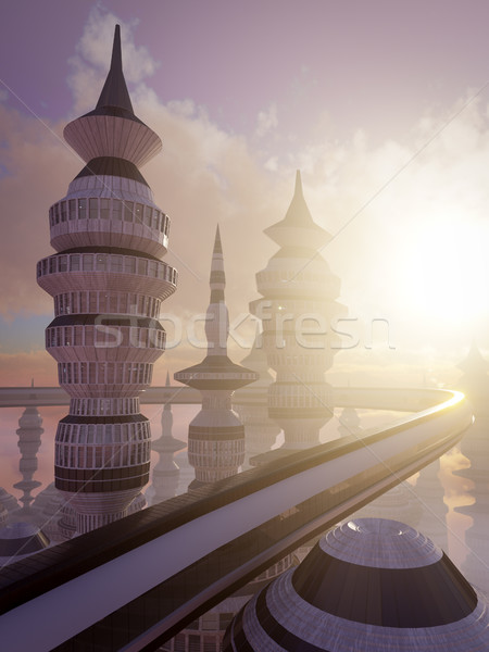 aerial view of Science Fiction City with clouds and sun 3d Stock photo © denisgo