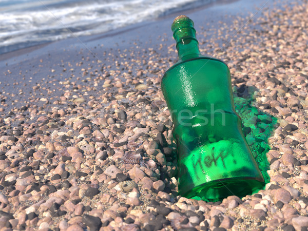 Help Message in a bottle on a shore concept background Stock photo © denisgo