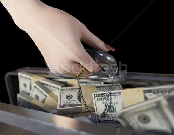 money in case and woman hand with wedding ring marriage of convenience concept  Stock photo © denisgo