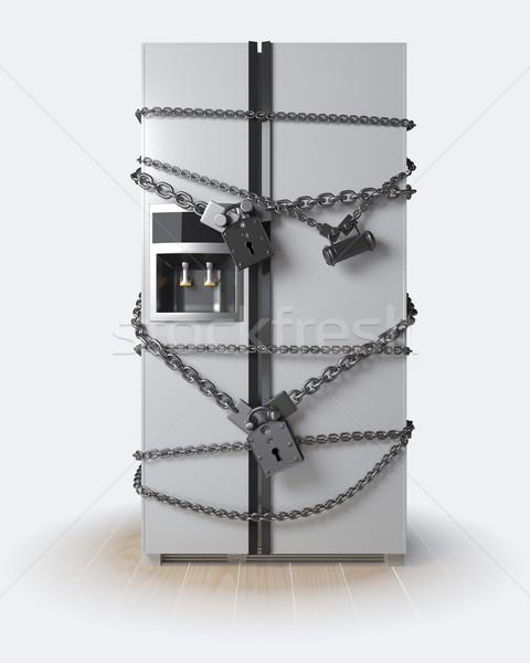 ストックフォト: ダイエット · 冷蔵庫 · チェーン · ロック · キッチン · 時計