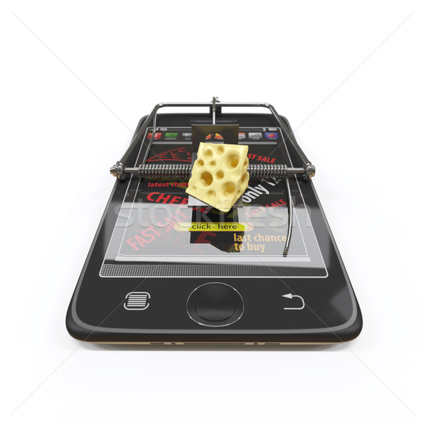 virtual cheese. smartphone as mousetrap and mouse advertising concept Stock photo © denisgo