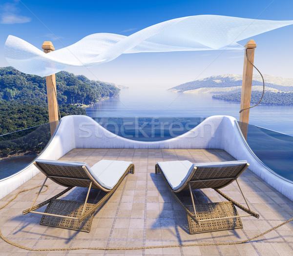 Balcon mer deux chaises vacances plage Photo stock © denisgo