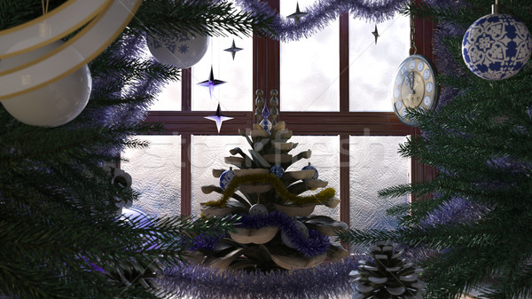 Christmas tree with pine cone,window and clock concept composition Stock photo © denisgo