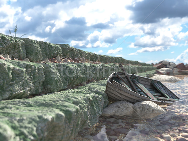 Breakwater with gates and old fishing boat concept background Stock photo © denisgo