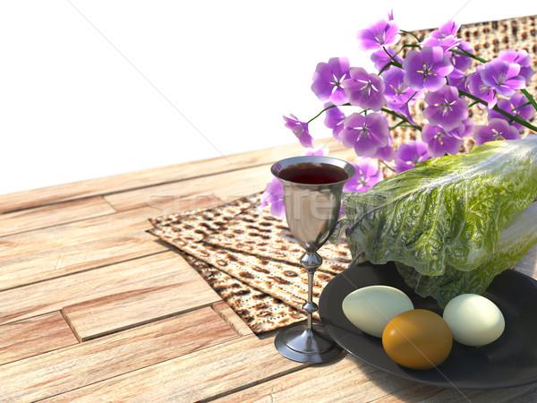 Kutlamak Yahudilerin hamursuz bayramı yumurta çiçekler doğa bahar Stok fotoğraf © denisgo