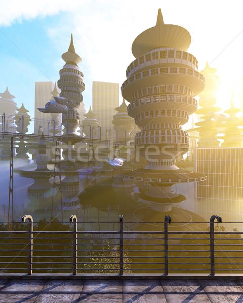 Foto stock: Futurista · cidade · voador · negócio · escritório
