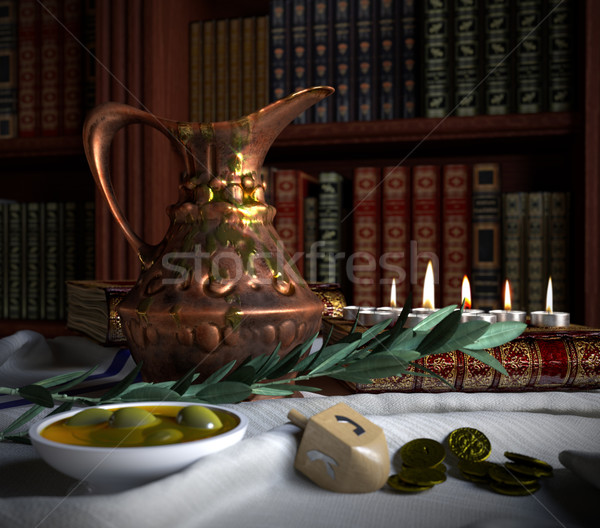 hanukkah close up with candles, old books, spinning top and olives Stock photo © denisgo