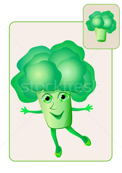 Grappig realistisch broccoli gezicht man gelukkig Stockfoto © denisgo