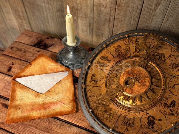 mystical concept still life with zodiac sighs, candle and letter Stock photo © denisgo