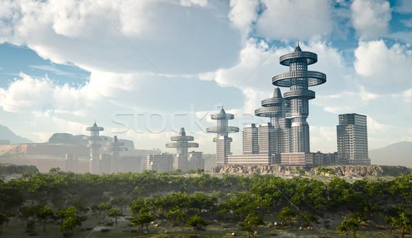 Légifelvétel futurisztikus város üzlet iroda ház Stock fotó © denisgo