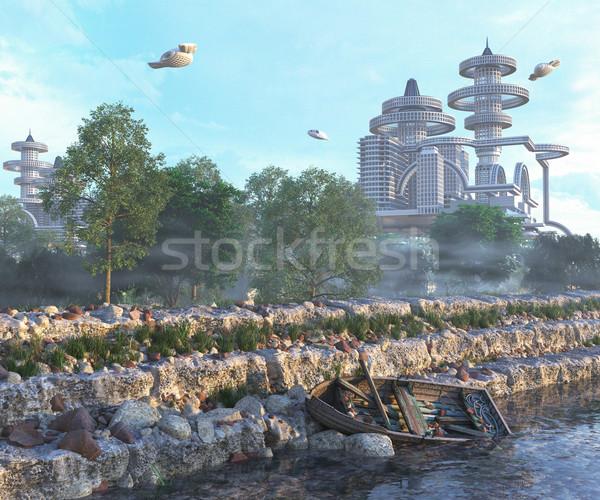 Vista futurista ciudad vuelo edad barco Foto stock © denisgo