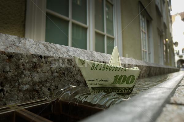 Hajóroncs dollár papír város utca fotó Stock fotó © denisgo