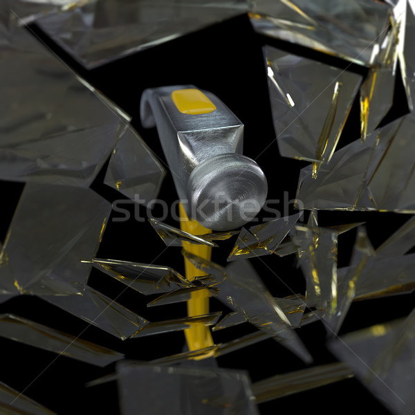 hammer smashing a glass concept background Stock photo © denisgo