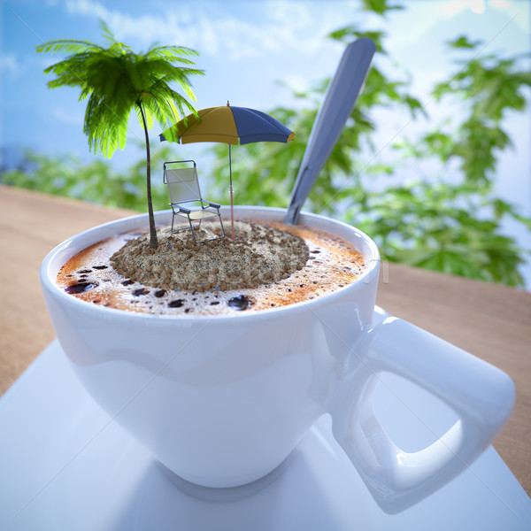 Coffee cup vacation relaxing concept composition with palm and chair Stock photo © denisgo