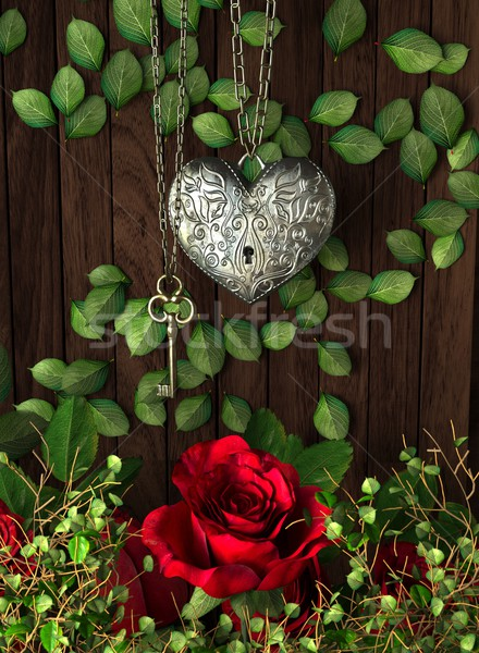 Roses and a heart with key on wooden board, conceptual holiday background Stock photo © denisgo