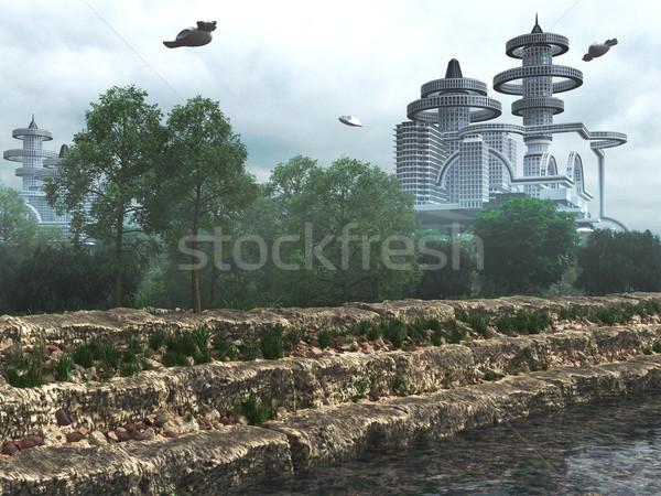 Kilátás futurisztikus város repülés öreg modern Stock fotó © denisgo